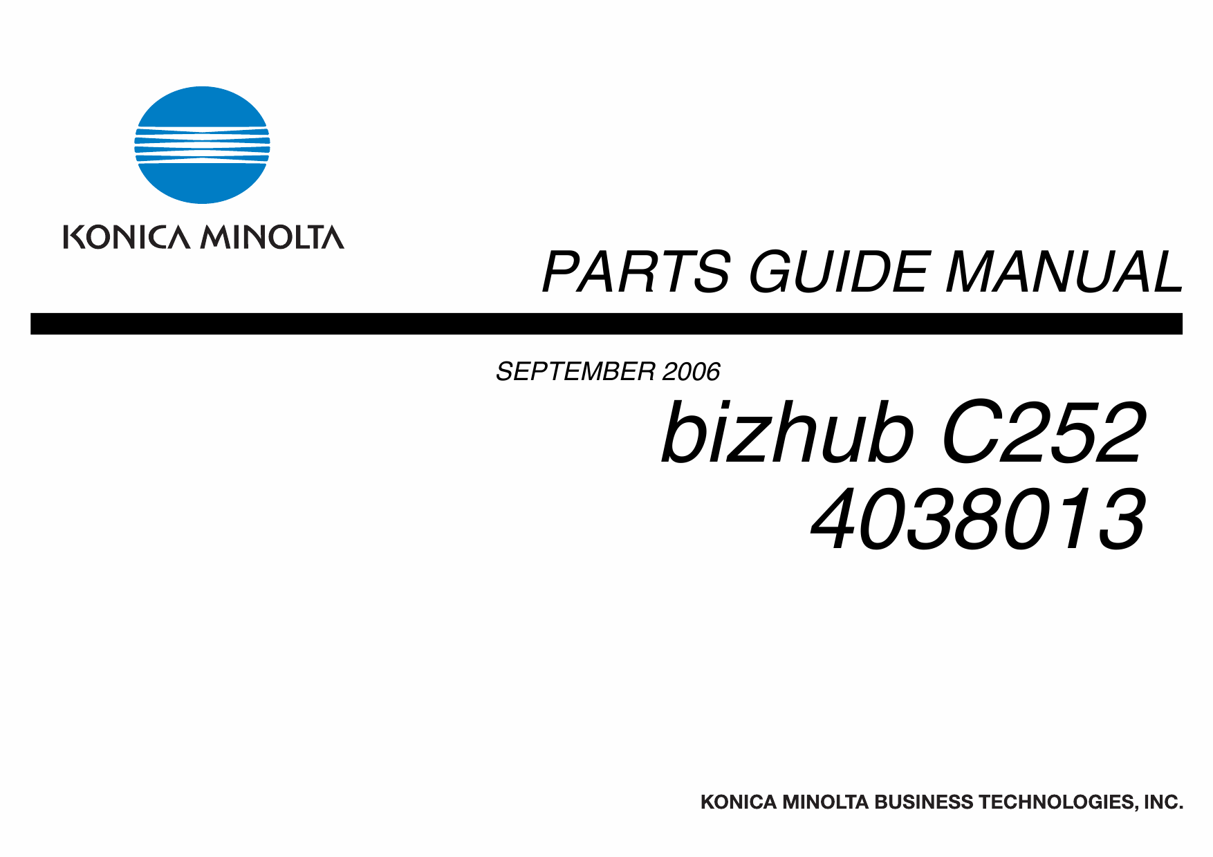 Konica-Minolta bizhub C252 Parts Manual